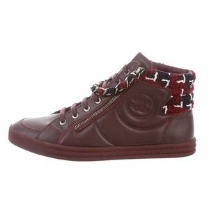 Chanel Burgundy CC Chain Sneakers